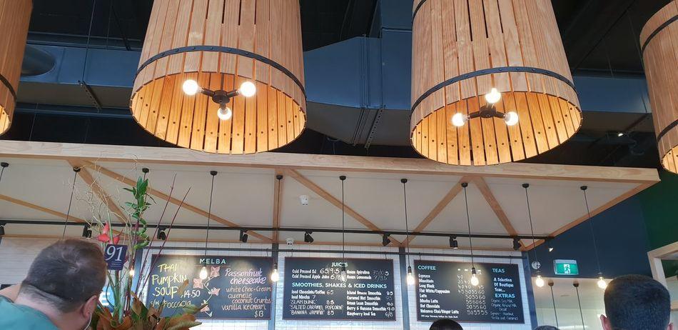 Cafe blackboard menu and hanging lights. Cafe Menu Hanging Lights Barrel Lights EyeEm Selects Illuminated Hanging Lighting Equipment Decoration