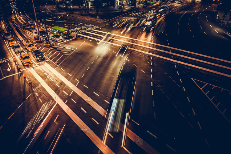 Activity Architecture Blurred Motion Busy City City Life City Street Cityscape High Angle View Illuminated Land Vehicle Light Trail Long Exposure Motion Night No People Outdoors Road Rush Hour Speed Street Traffic Transportation Rethink Things This Is My Skin 17.62°