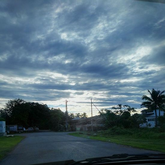 Morning Early Morning Sky And Clouds Beautiful From My Point Of View Scene View Nice Nice Atmosphere Fresh Air Road Alone Bright House Field Beside