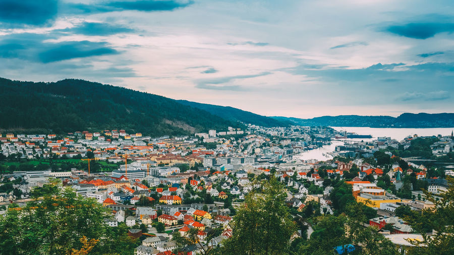 Aerial panoramic view Cityscape of Bergen, Norway Architecture Tree Nature Cityscape Water Day House Sky Building Skyline Green Blue Travel Panoramic Cityscape Bergen Norway Beautiful