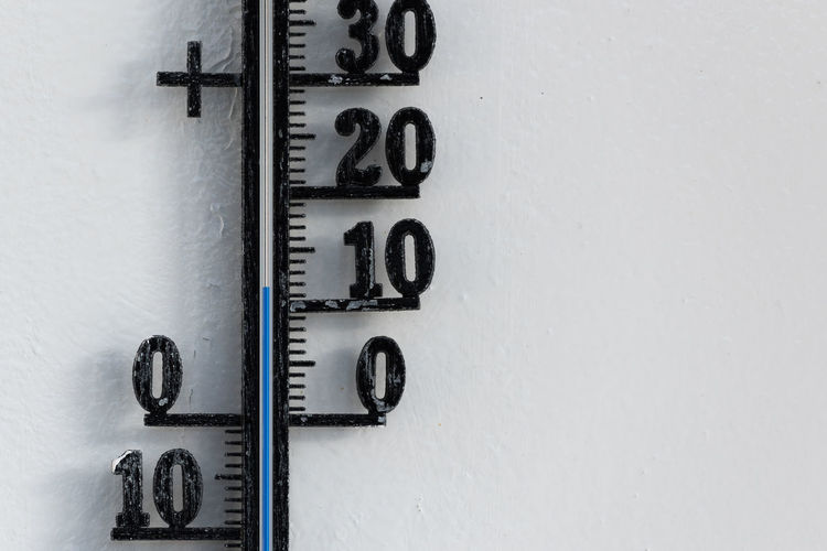 Close-up of thermometer on wall