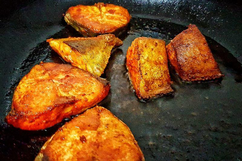 Food Heat - Temperature Close-up Fish Fry!!!! Indian Food Masalafood