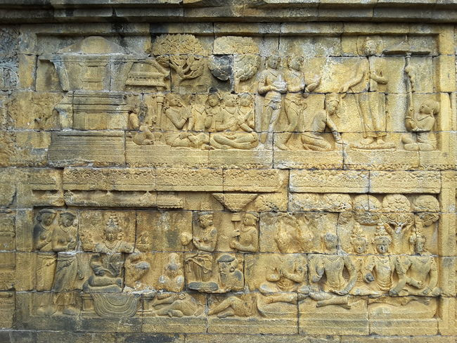 Part of historical human story in Borobudur tample Borobudur Magelang History Sculpture