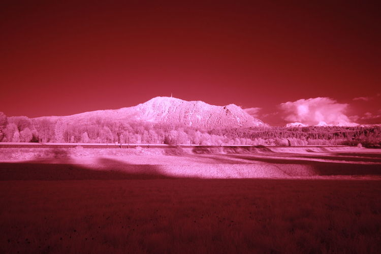 Infrared view on the Grünten mountain Allgäu Grünten Infrared Beauty In Nature Cold Temperature Day Flamingo Infrared Photo Infrared Photography Infrarot Landscape Mountain Nature No People Outdoors Red Salt - Mineral Scenics Sky Snow Sunset Tranquil Scene Tranquility Water Winter