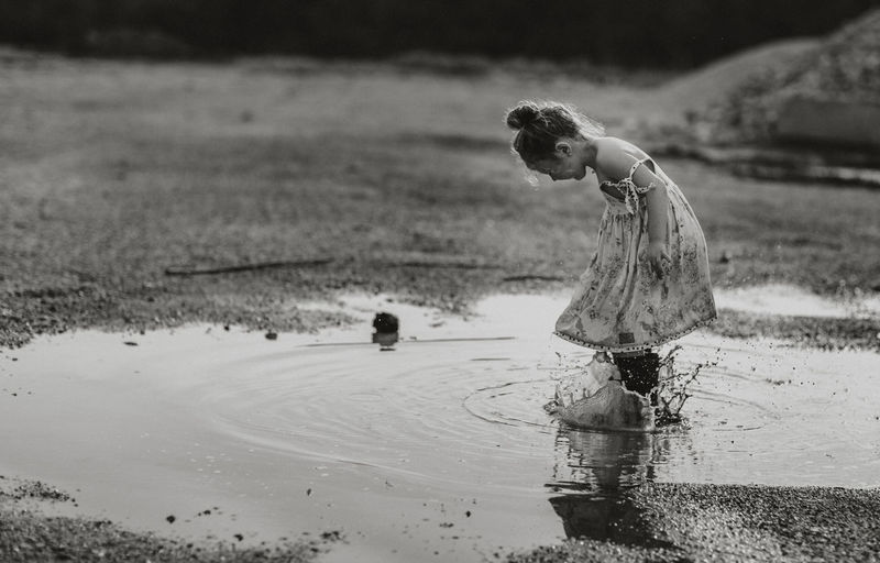 Water Nature One Person Land Day Side View Reflection Outdoors Wet Jumping Puddle Girl Dress