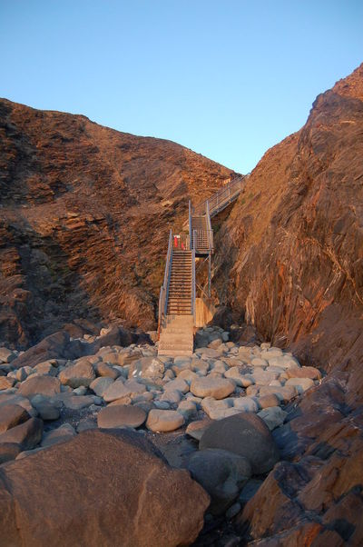 Pembrokeshire Coast Coast Cliff Metalwork Staircase Beach Pembrokeshire Out For A Walk Blue Sky