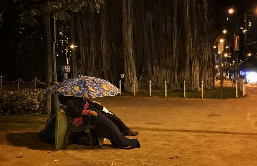 Home in front of the banyan tree on Waikiki Beach Night Illuminated Sitting Real People Outdoors Lifestyles Beach Banyan Tree Roots Waikiki Beach Homeless Sleeping Adventures In The City