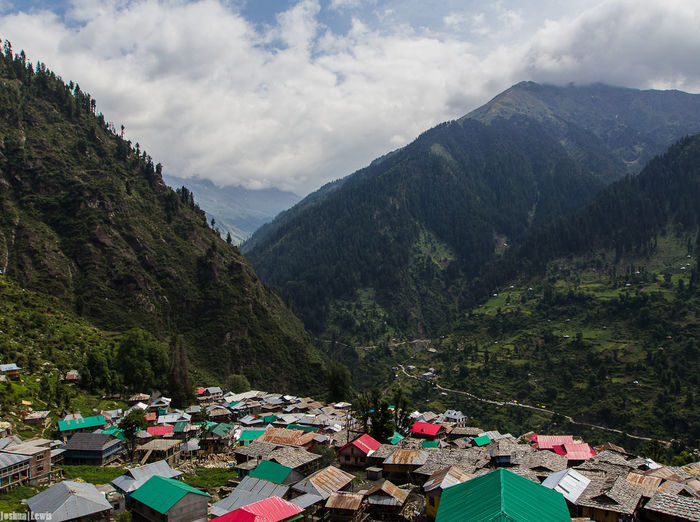 Scenic view of malana against mountains
