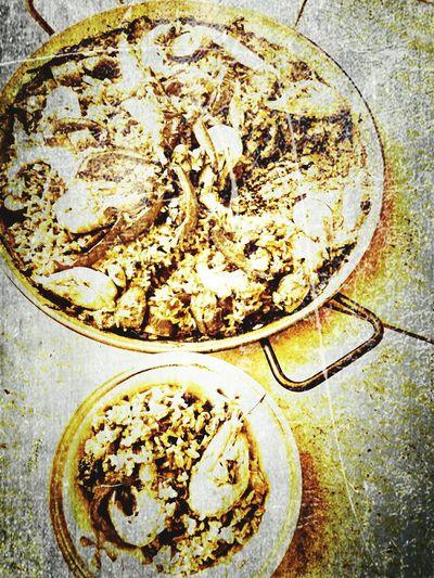 Seafood Paella. Food Food And Drink Nostalgia Eye4black&white  Eyem Best Shots Nostalgic Scene Wet Plate Photography Bygone Summer☀️ Bygone Bygone Times Black And White Photography Blackandwhite Streetphotography Sepia Food