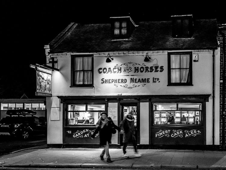 The Coach and Horses, Whitstable, Kent Shepherd Neame Kent FUJIFILM X-T2 Whitstable Pubs Kent Pubs Blackandwhite Black And White Monochrome Communication Built Structure Architecture Illuminated