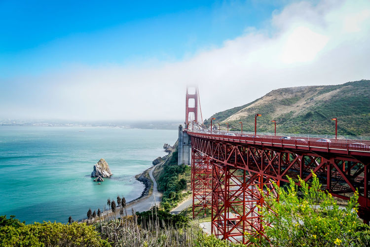 We arrived just as the fog was lifting so we got to see all the beauty. Architecture California Nature San Francisco Bay Blue Sky Bridge Clouds Fog Gplden Gate Bridge Landscape Outdoors Park Rocks San Francisco Bay Sky Structure Water