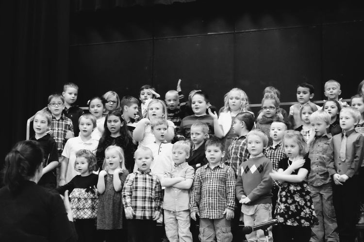Visual Journal December 2016 Meridian School Daykin, Nebraska (Fujifilm Xt1, Fujifilm XC 50-230mm F4.5-6.7 OIS) edited with Google Photos. Arts Culture And Entertainment B&W Collection Camera Work Childhood Childhood Memories Children Choir  Christmas Pageant Classmates Crowd Elementary Age Elementary School Group Of People Indoors  Kids Kids Being Kids Music Music Photo Diary Real People Rural America School Singing Small Town Stories Visual Journal