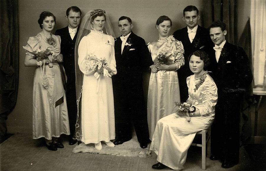 Old black and white family portrait of bride with groom and relatives on their wedding day Old Family Portrait Vintage Wedding Photo Wedding Photography Adult Black And White Black And White Family Portrait Black And White Portrait Bride And Groom Child Clothing Females Full Length Group Of People Men Old Family Photos Old Family Pictures Standing Vintage Photo Vintage Wedding Vintage Wedding Attire Vintage Wedding Dress Vintage Wedding Veil Vintage Wedding Veils Wedding Day Women