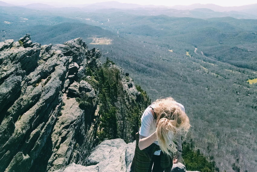 Dramatic Angles Mountain Scenics Beauty In Nature Mountain Range Person Non-urban Scene Day Outdoors Blue Mellow Woman Who Inspire You Blue Ridge Mountains Boone NC Appalachian Mountains Forest Tourism Remote High Messy Hair Dont Care Hiking Adventures Power Strength One With Nature
