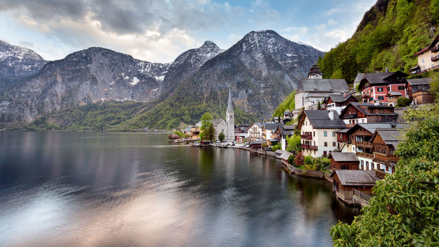 Austria Architecture Beauty In Nature Building Exterior Built Structure Cloud - Sky Day Hallstatt House Lake Landscape Mountain Mountain Range Nature No People Outdoors Range Scenics Sky Snow Town Tranquil Scene Tranquility Water Waterfront