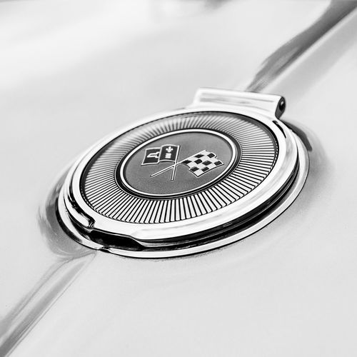 1966 Corvette Stingray Gas Cap 1960s Automobile Automovt Blackandwhite Blackandwhitephotography Car Cars Checkered Flag Classic Classic Car Classiccar Close-up Corvette CorvetteStingray Details Gascap Hood Midcentury Square Squareformat Vintage