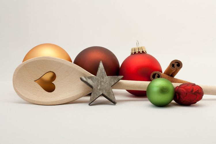 Christmas Ornament Seasons Greetings Backgrounds Celebration Event Celebration Restaurant Kitchen Merry Christmas! Wooden Spoon Christmas Decoration Christmas Shape Star Shape Group Of Objects Red Copy Space Close-up Food Food And Drink Indoors  Still Life Studio Shot White Background Holidays