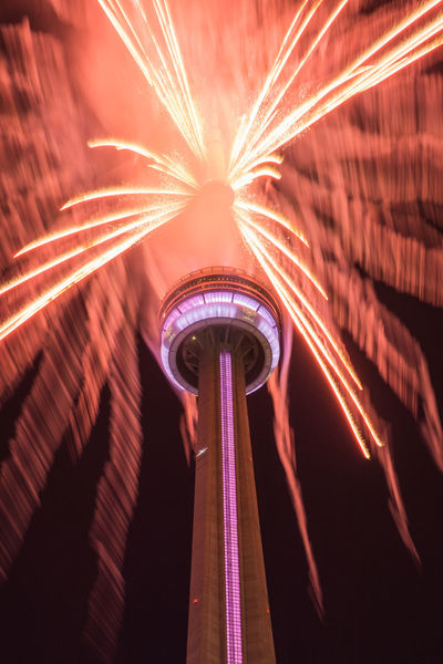 CN Tower Fireworks Night Lights Toronto Built Structure Canada Day Celebration Event Explosion Of Color Illuminated Long Exposure Low Angle View Night Night Sky