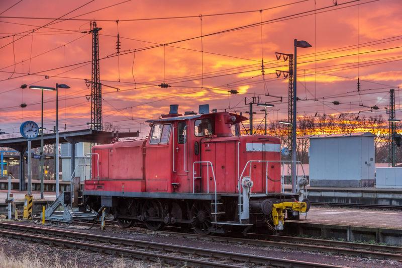 Locomotive at railroad station platform