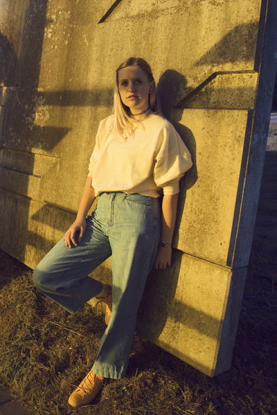 Paint The Town Yellow Shadow One Person Portrait Sunlight Outdoors Young Adult Fresh On Eyeem  Fresh On Eyeem  Yellow Highway Fashion Mom Jeans Vscocam Stories From The City