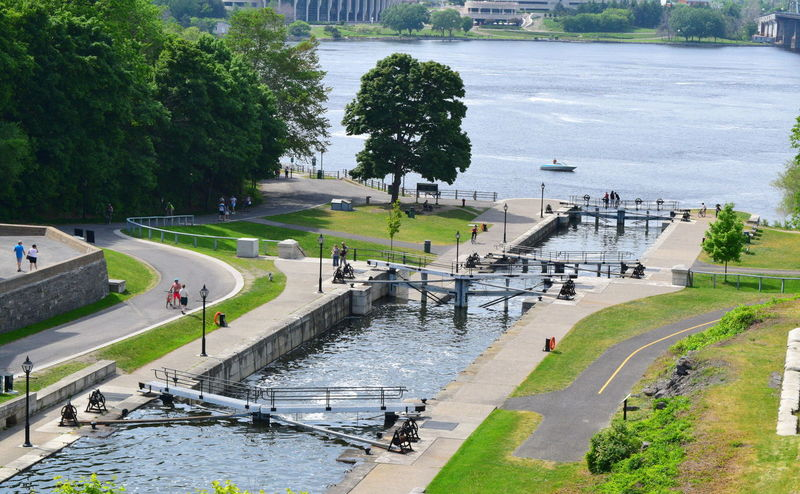 Canal Locks City City Life Curve Day Footpath Formal Garden Hedge High Angle View Large Group Of People Lawn Ottawa River  Park Park - Man Made Space Pathway Person Rideau Canal Road Transportation Travel Travel Destinations Tree Walking Walkway Water