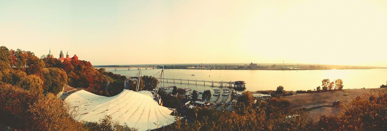 Plock Płock Vistula River Wisła River Amphitheater Pier Sunset Wzgórze Tumskie Panorama Old Town Poland bridge