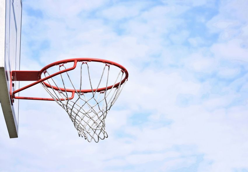 Basketball Hoop Basketball - Sport Net - Sports Equipment Cloud - Sky Sky Sport Low Angle View Day Leisure Games Court Outdoors Basketball Player No People Clouds And Sky Objects