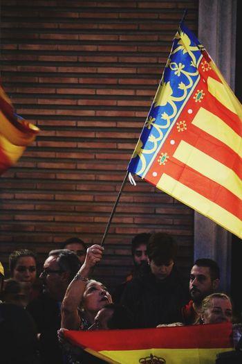 SPAIN Manifestation Valencia, Spain Group Of People Real People Men Lifestyles Women People Flag Emotion Group