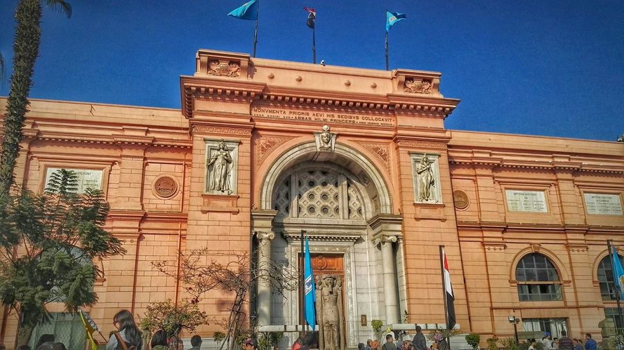 Egyptian Museum, Cairo, Egypt. Architecture Building Exterior Built Structure Façade Outdoors Clear Sky Sky No People Low Angle View Tree Religion Arch Day City Triumphal Arch My Year My View
