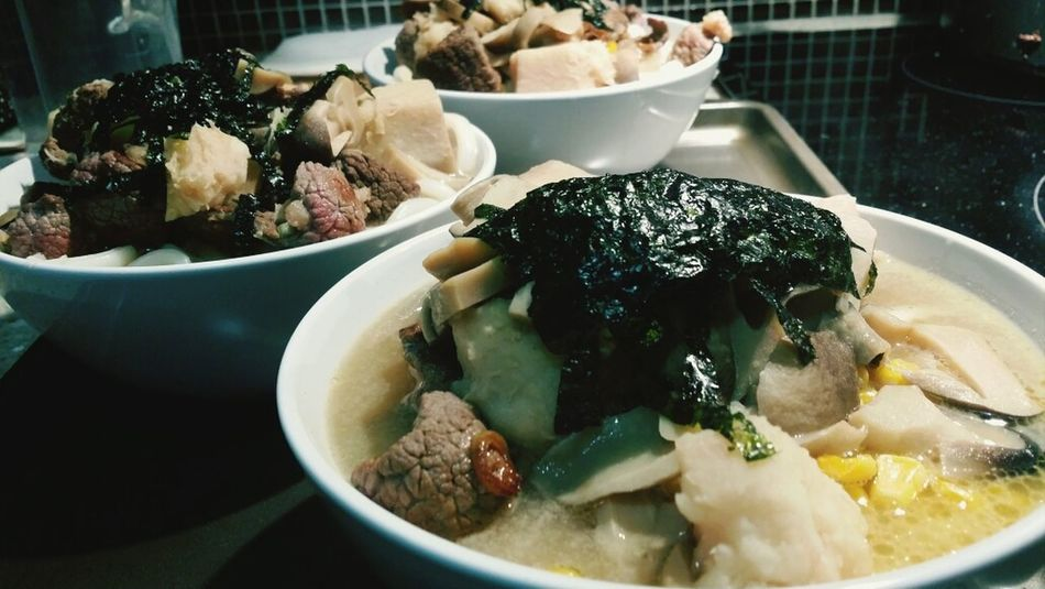 Cooking at home :3 Udon Noodles Beef Mushroom Taro Root