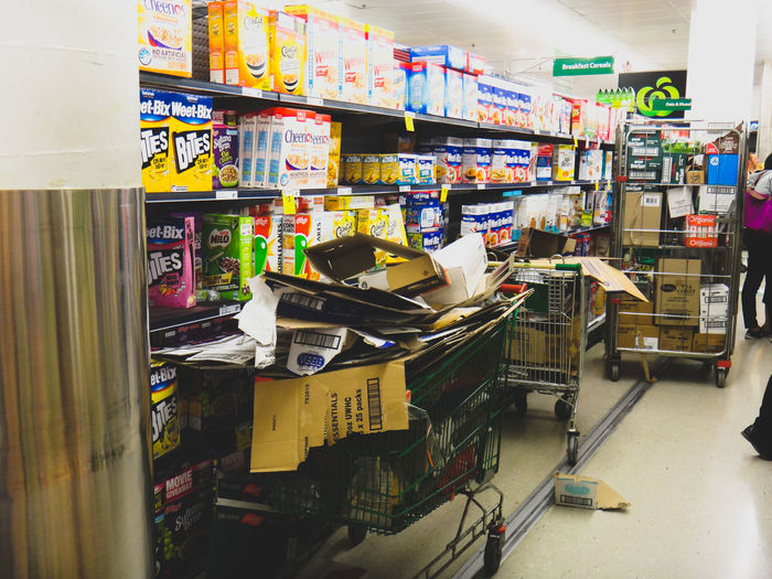 messy supermarket during restock Aisle Food Hazard Indoors  Mess Messy Occupational Safety And Health Packiging Retail  RISK Shop Stock Stocking Up Store Supermarket Unsafe