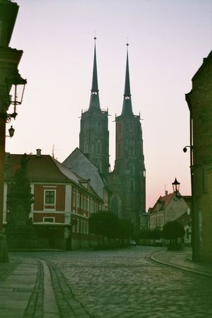 Adapted To The City Architecture Building Exterior Built Structure Catedral Dawn Emptystreets Historic Morning No People Outdoors Place Of Worship Religion Sky Spirituality Street Streetphotography Wroclaw Wroclaw, Poland