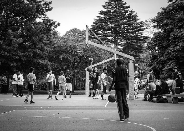 Tree Large Group Of People Real People Court Basketball - Sport Sport Outdoors Basketball Player Lifestyles Basketball Hoop Competitive Sport Men Sky Playing Day City