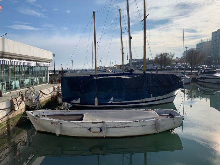 Nautical Vessel Transportation Moored Water Mode Of Transportation Sky No People Nature Marina Cloud - Sky Building Exterior Sailboat Day Mast Harbor Reflection Pole Built Structure Architecture Outdoors