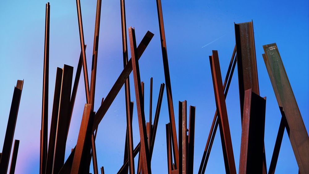 Blue Low Angle View Silhouette Plant Close-up Growth Clear Sky Nature Tranquility Repetition Sky Outdoors Day Beauty In Nature Red Beams Steel Structure  Steel