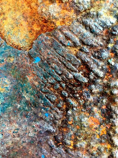 Full frame shot of Rusty texture on metal surface Full Frame Backgrounds No People Pattern Abstract Textured  Multi Colored Close-up Water Day Natural Pattern Rock High Angle View Solid Abstract Backgrounds Nature Outdoors Beauty In Nature Art And Craft