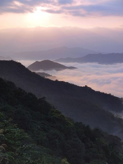 Daybreak over the edge of 'cloud-sea' Hiking Ilan County, Taiwan Taiwan Yilan County, Taiwan Beauty In Nature Cloud Sea (雲海) Day First Light Idyllic Landscape Mountain Mountaintop Nature New Taipei City No People Outdoors Remote Scenics Sky Sunset Tranquil Scene Tranquility