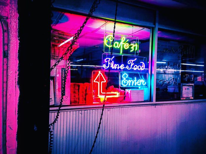 Illuminated Neon Text Night Communication Store Building Exterior No People Architecture Built Structure Outdoors New York City Vaporwave Cyberpunk Neon Life