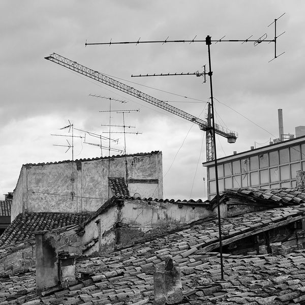 Antenna Antenna - Aerial Architecture Black & White Black And White Black And White Photography Black&white Blackandwhite Blackandwhite Photography Building Exterior Bw Cloud - Sky Construction Site Day No People Outdoors Roof Roof Tile Rooftop Rooftop View  Rooftops Sky SPAIN Technology Tiles