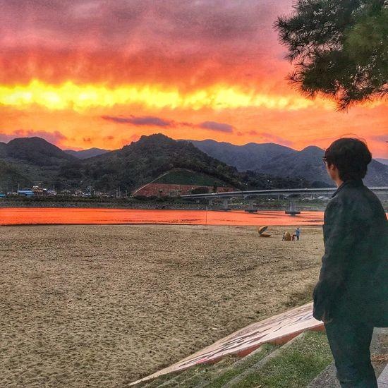 Landscape South Korea Sumjin_river Sunset Friend