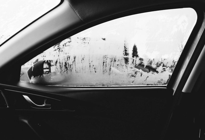 Defrosting. Shades Of Winter Frosty Window Car Transportation Mode Of Transport Land Vehicle Vehicle Interior Window Car Interior Road Trip Day Looking Through Window Travel Vehicle Seat Close-up