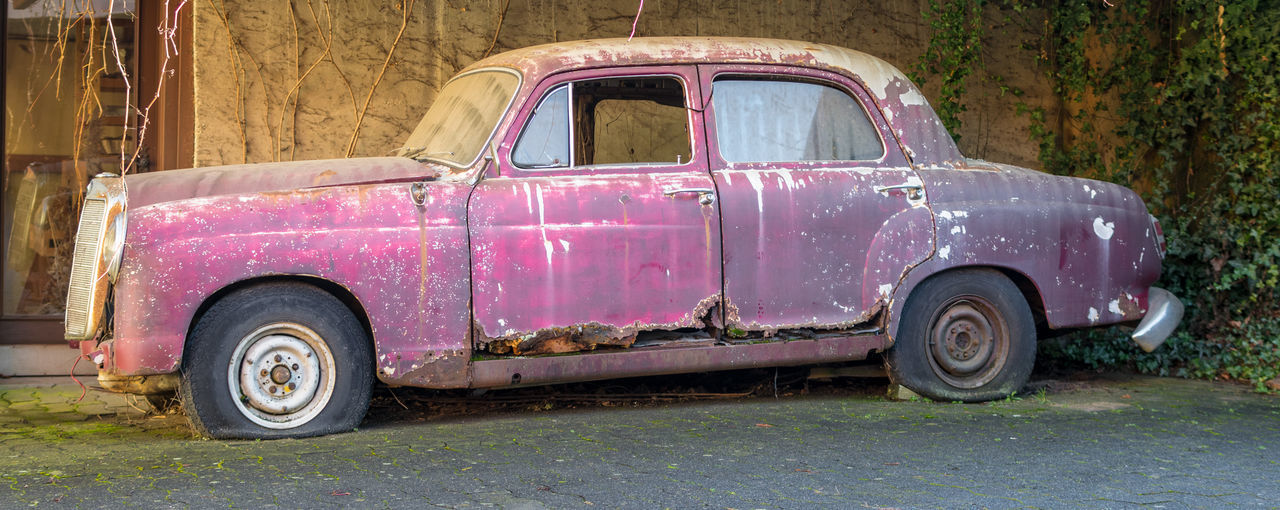 Mercedes-Benz Rust Volatile Abandoned Day Fading Beauty Land Vehicle No People Old Old-fashioned Oldtimer Outdoors Pink Color Red Retro Styled Rusty Side View Transportation