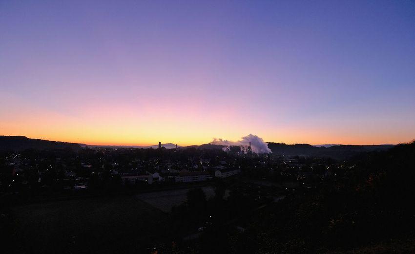 Schongausunrise Built Structure Cityscape Clear Sky Mountain Nature Scenics Silhouette Sky