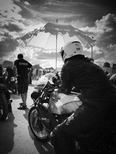 Black And White Friday Motorcycle Cloud - Sky Men Real People Riding Lifestyles People Transportation Racing Racing Circuit Race Racer Races Race Day UmbrellaGirl Umbrella Umbrella Sky Sky And Clouds Triumph Triumph Bonneville Black And White Friday