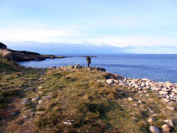 Coastal Walks Beach Beauty In Nature Blue Cloud Coastal Walks Eye Em Scotland Horizon Over Water Idyllic Nature Non-urban Scene One Person Remote Rock Rock - Object Scenics Scotland Sea Shore Sky Standing Stone - Object Tranquil Scene Tranquility Uk Water