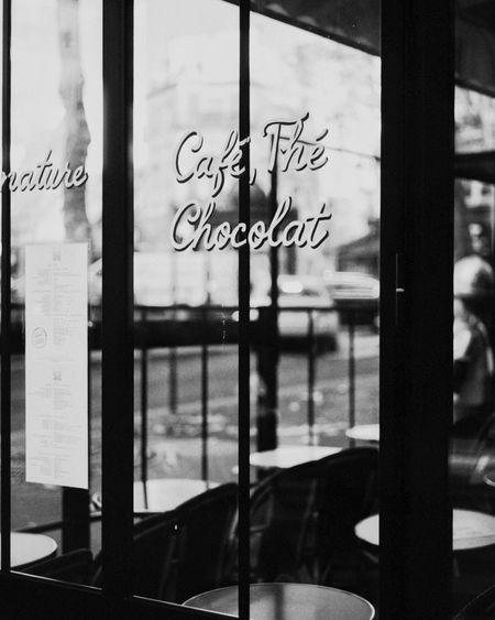 Café Paris Film Photography Window Glass - Material Transparent Text Communication No People Indoors  Day Western Script Restaurant Glass