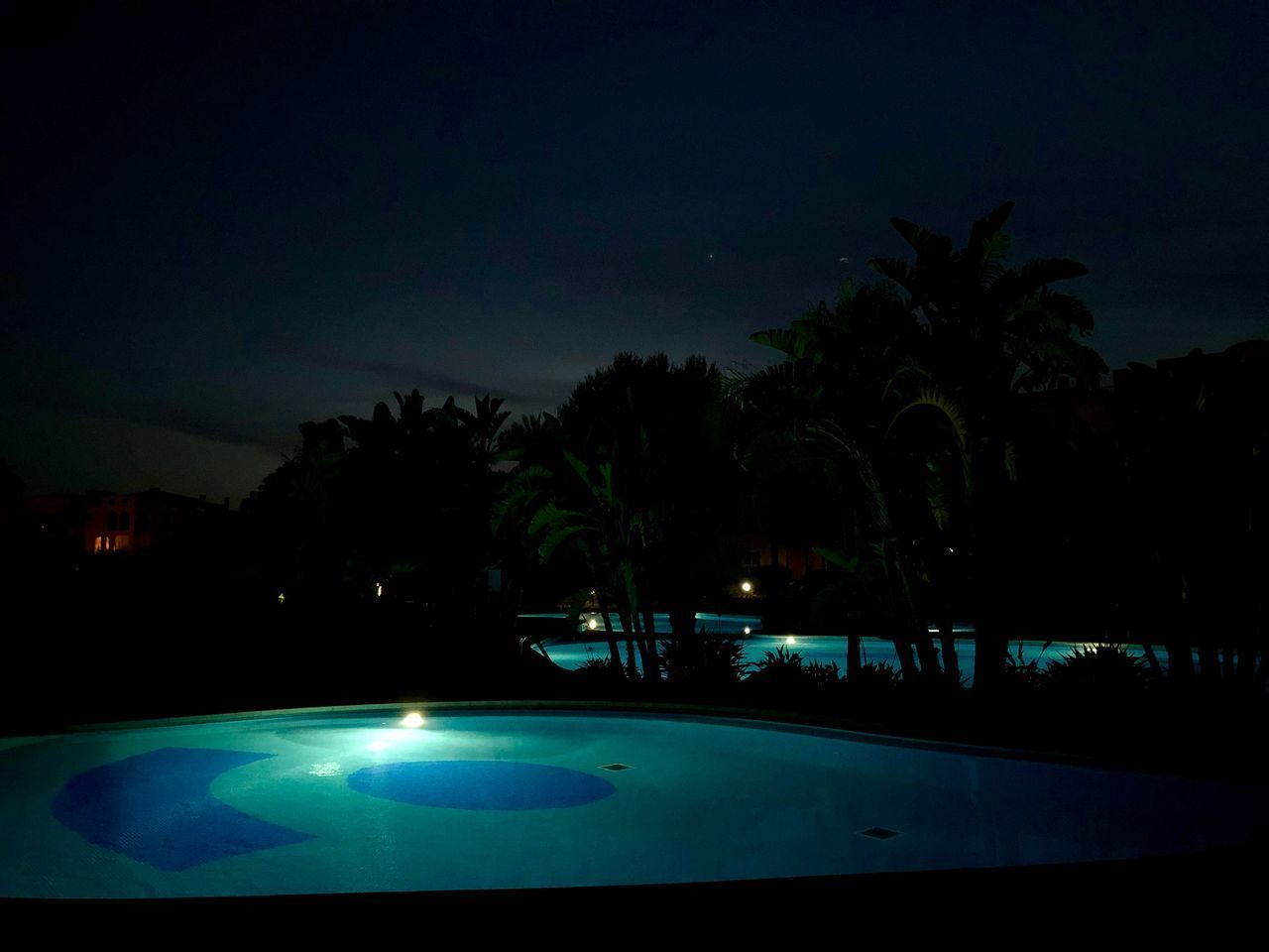 night, tree, palm tree, tropical climate, illuminated, sky, no people, pool, nature, swimming pool, plant, silhouette, water, outdoors, dusk, sport, green color, absence, architecture
