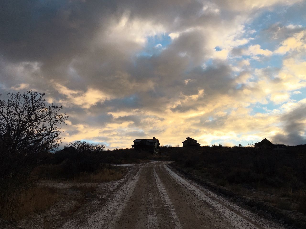 sky, cloud - sky, road, the way forward, direction, tree, plant, transportation, nature, no people, sunset, field, scenics - nature, landscape, land, dirt, dirt road, environment, beauty in nature, diminishing perspective, outdoors