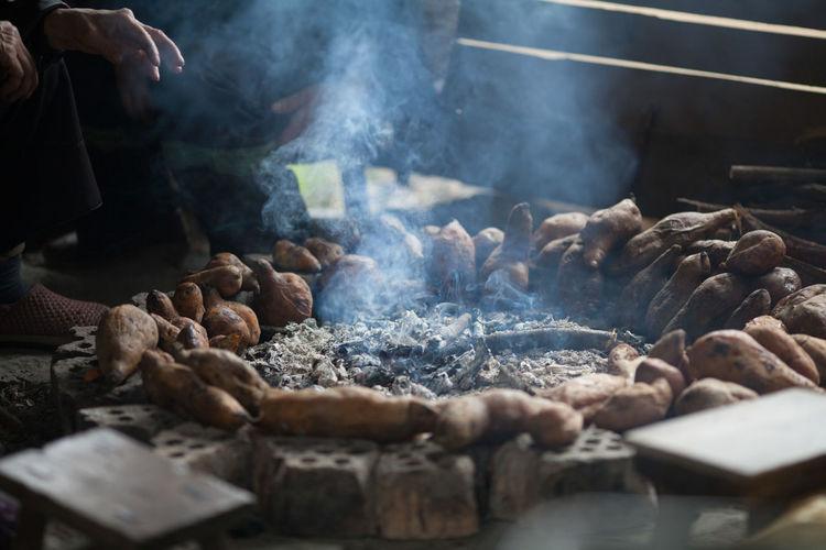 Sweet potatoes at bonfire