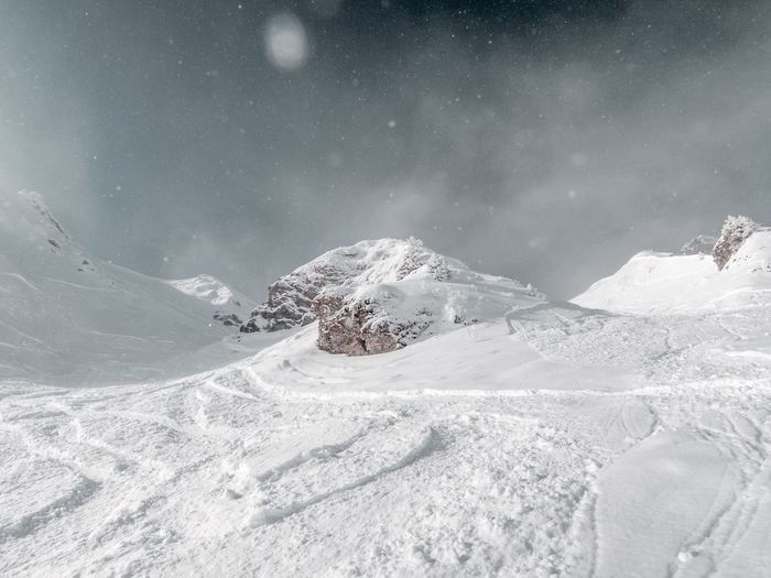 Snowy cliff at